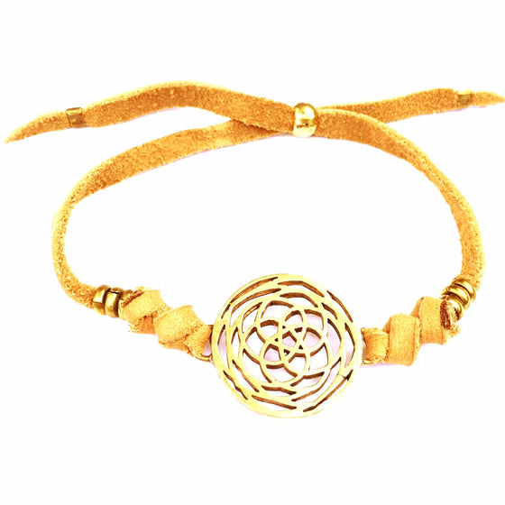 Brass Rose Of Venus sacred geometry charm bracelet on suede leather - Heart Mala