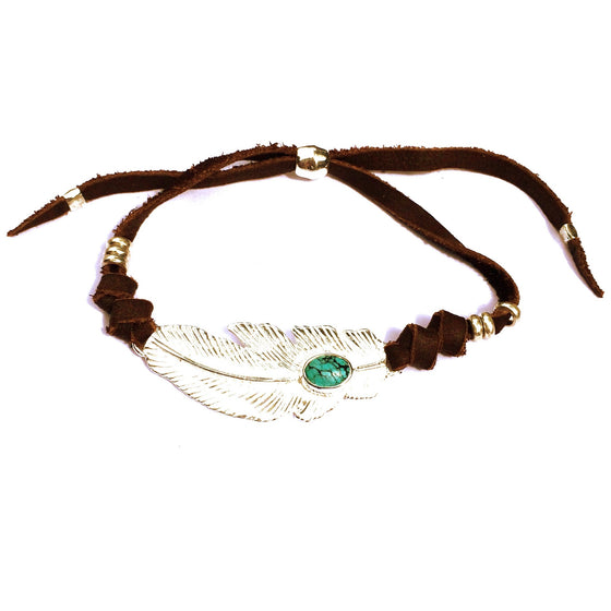 Turquoise & Silver Feather charm bracelet on suede leather - Heart Mala