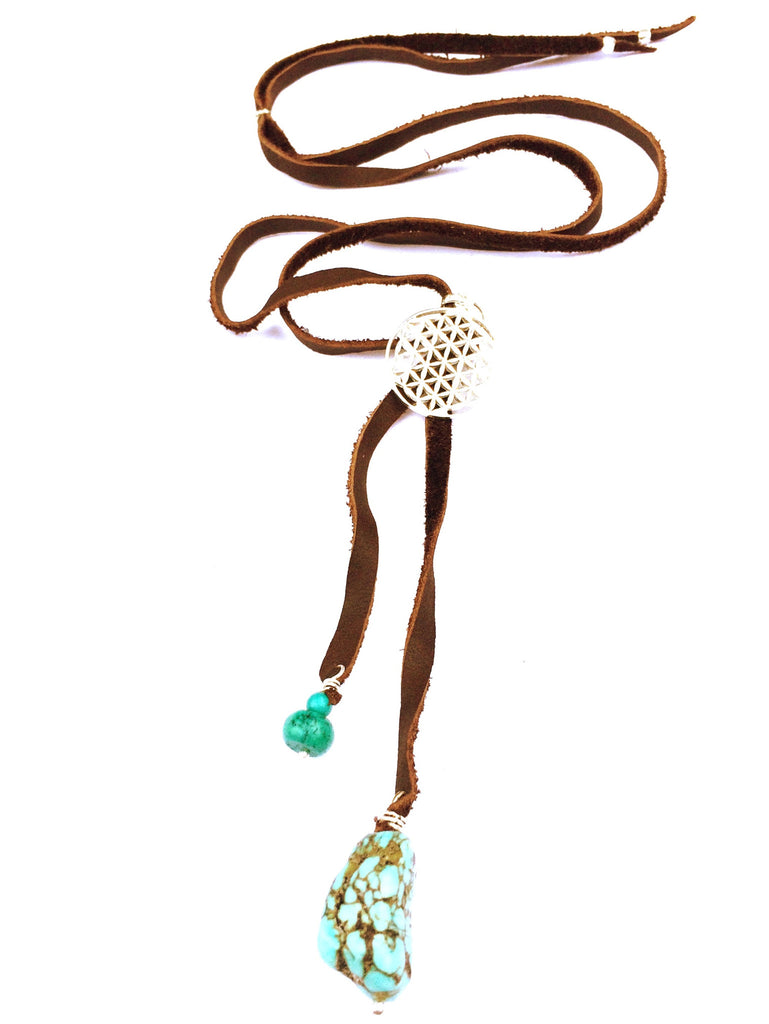 Silver Flower Of Life & Turquoise Boho Suede necklace - Heart Mala