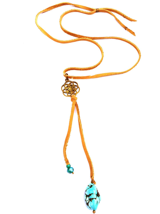 Brass Seed Of Life & Turquoise Boho Suede necklace - Heart Mala