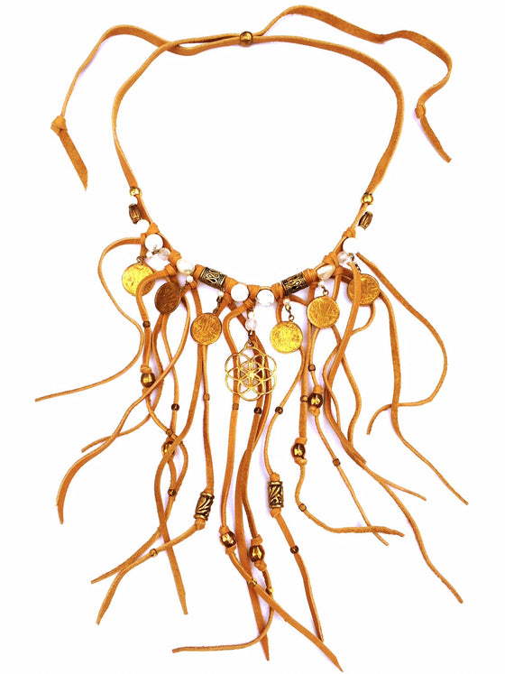 Tribal Boho Suede Fringe Necklace, Howlight & Seed Of Life - Heart Mala - 1