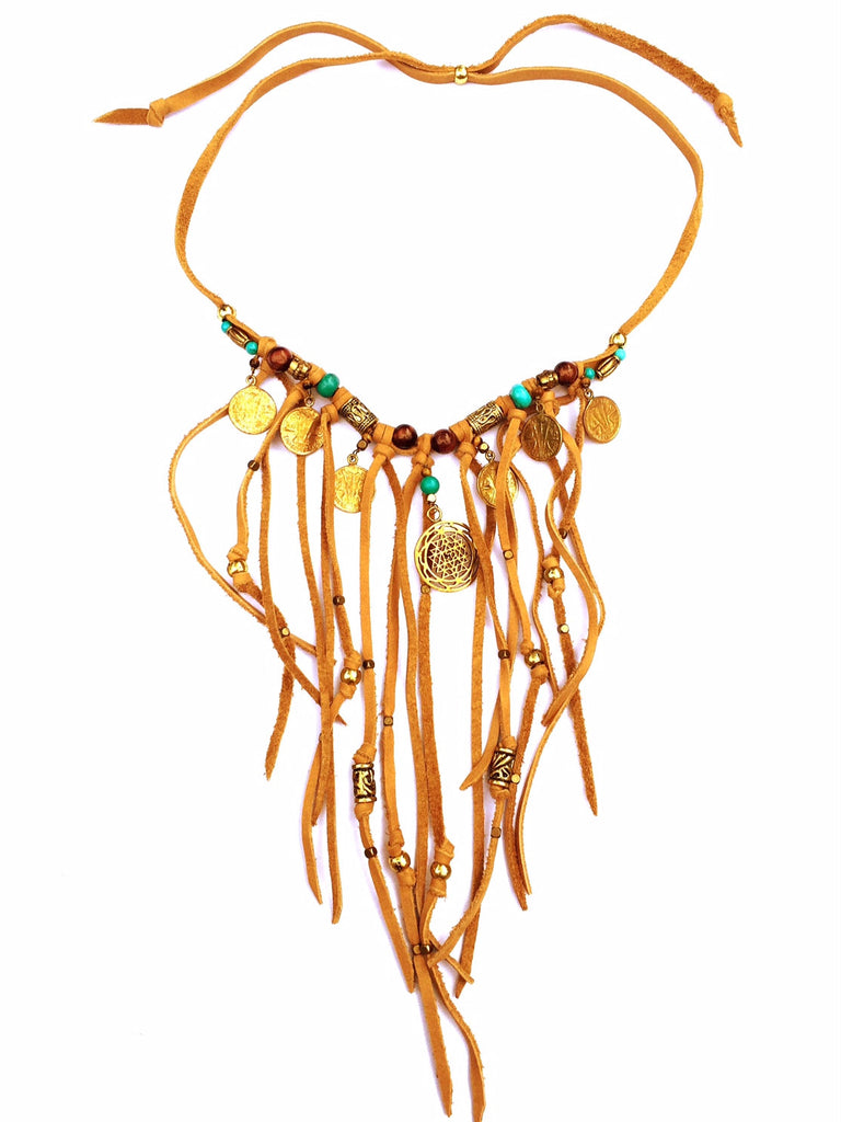Tribal Boho Jewellery Suede Fringe Sri Yantra Necklace with Turquoise, Tigers Eye