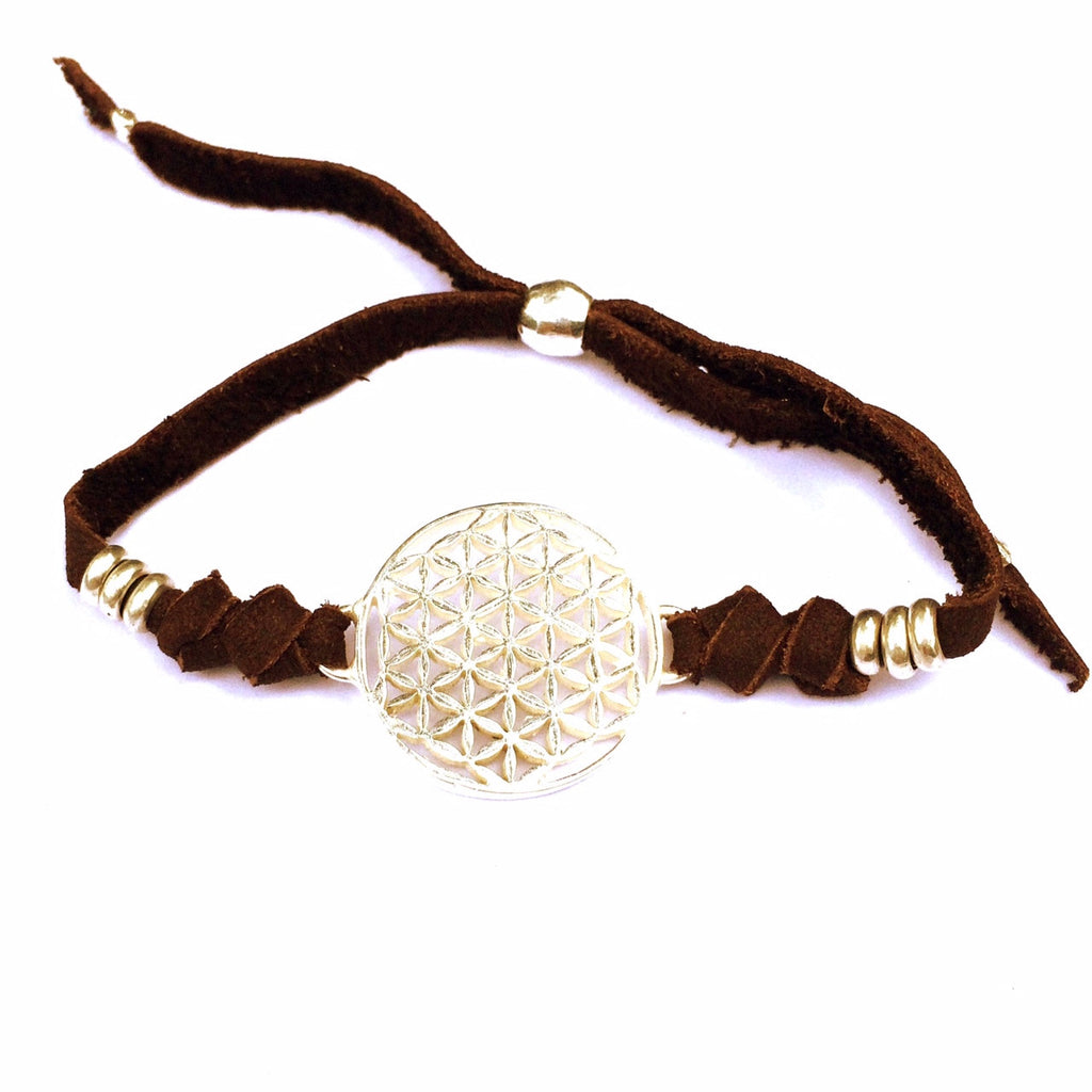 silver Flower Of Life sacred geometry charm bracelet on suede leather