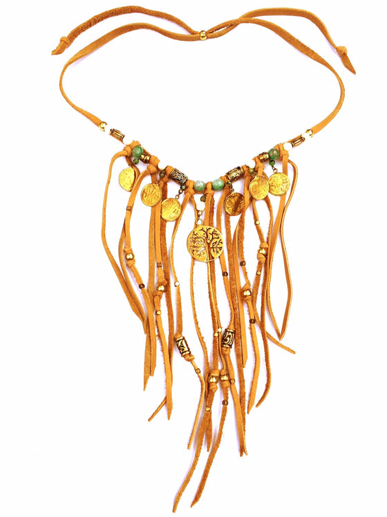 Tribal Boho Suede Fringe Necklace, Green Agate & Tree Of Life - Heart Mala - 1