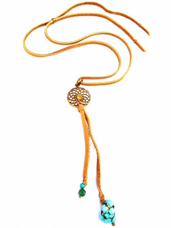 Brass Sunflower & Turquoise Boho Suede necklace - Heart Mala