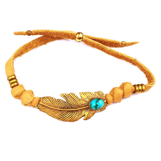 Turquoise & Brass Feather charm bracelet on suede leather - Heart Mala