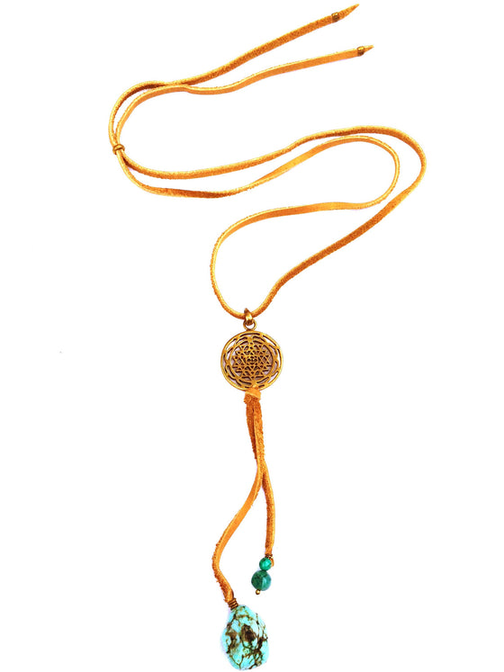 Brass Sri Yantra & Turquoise Boho Suede necklace - Heart Mala
