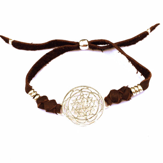 silver Sri Yantra sacred geometry charm bracelet on suede leather - Heart Mala