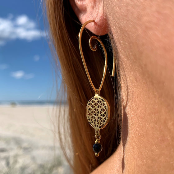 Flower Of Life Sacred Geometry brass Earrings & Lava Stone