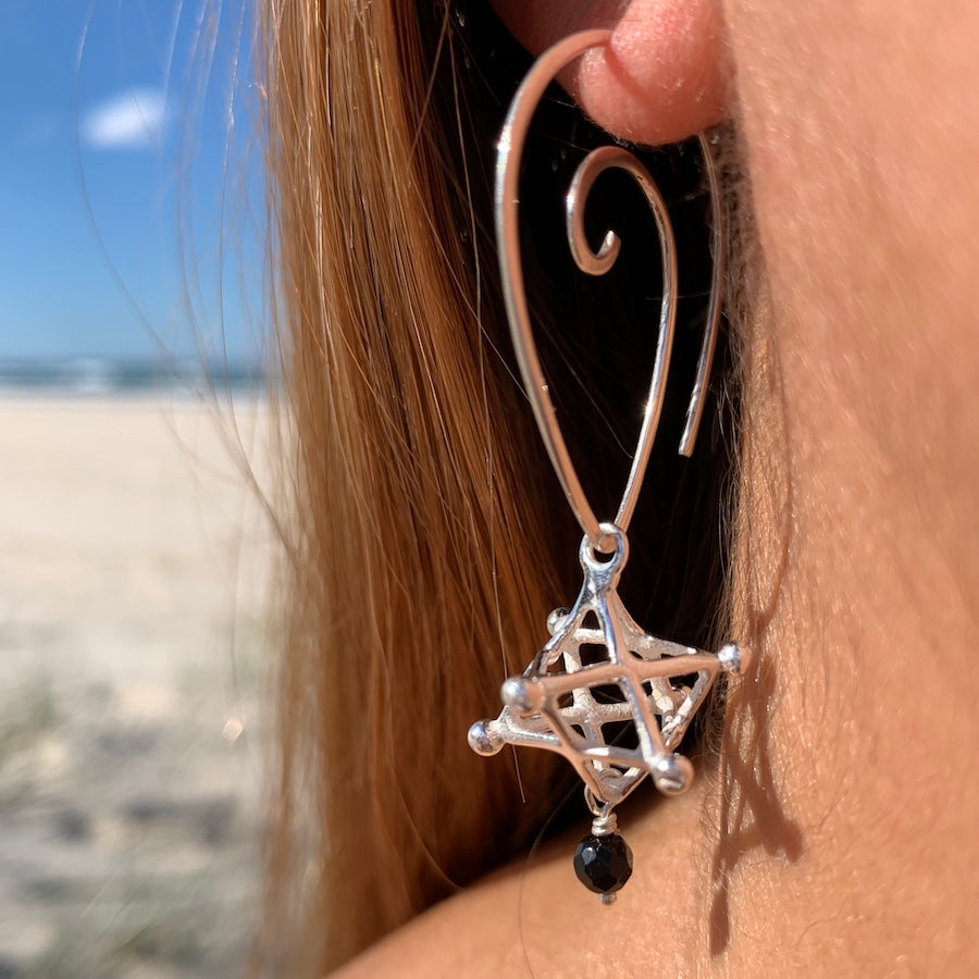 Merkaba sacred geometry Silver Earrings & Lava Stone