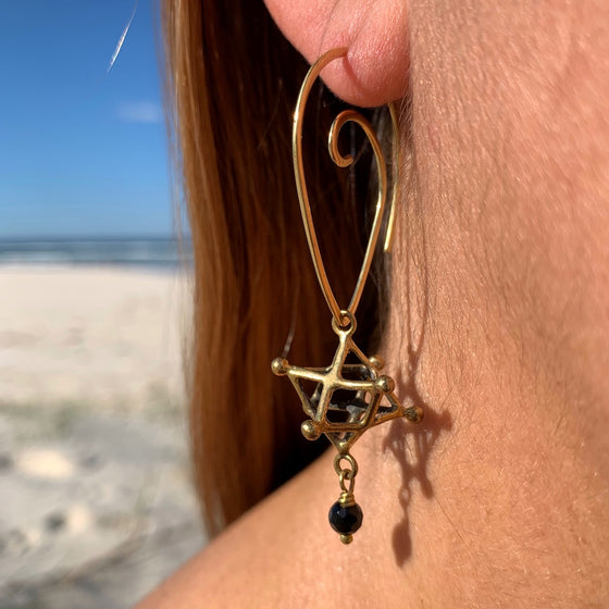 Merkaba sacred geometry Earrings & Lava Stone