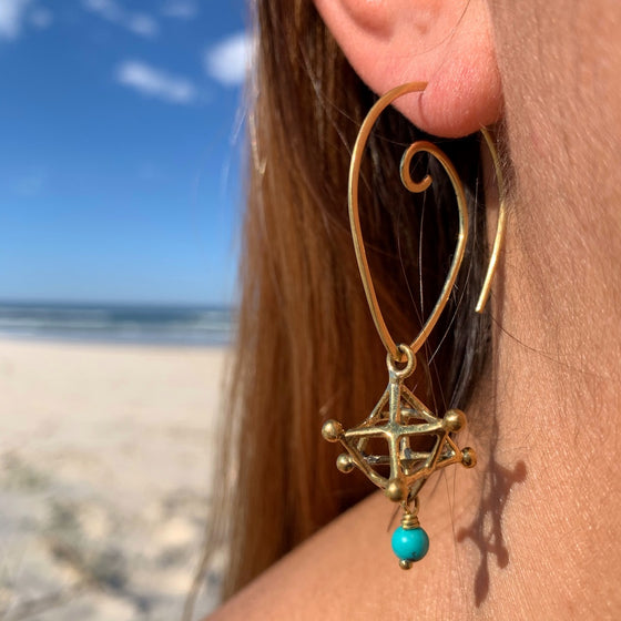 Merkaba sacred geometry Earrings & Turquoise Stones