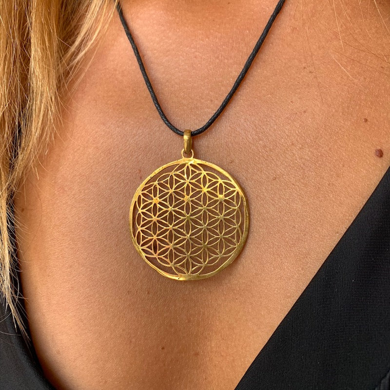 Flower Of Life Brass Pendant sacred geometry necklace