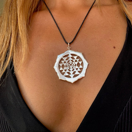Sri Yantra Mandala silver pendant sacred geometry necklace