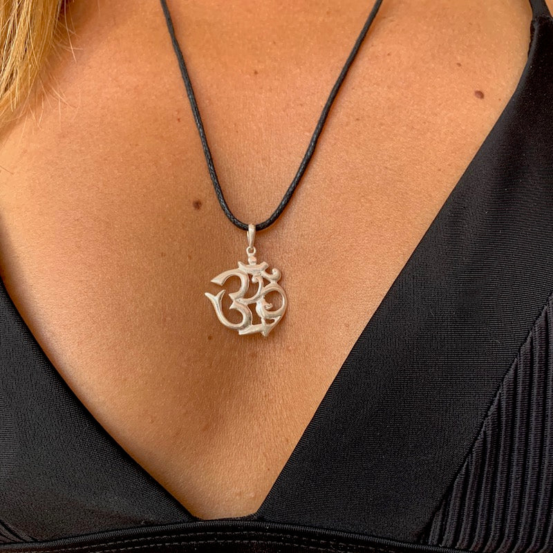 OM Silver Pendant yoga necklace