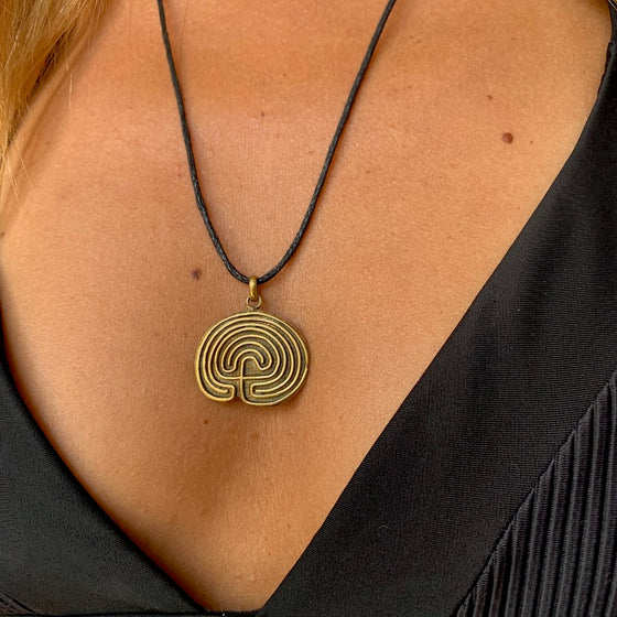 Hopi Labyrinth Necklace Brass Pendant