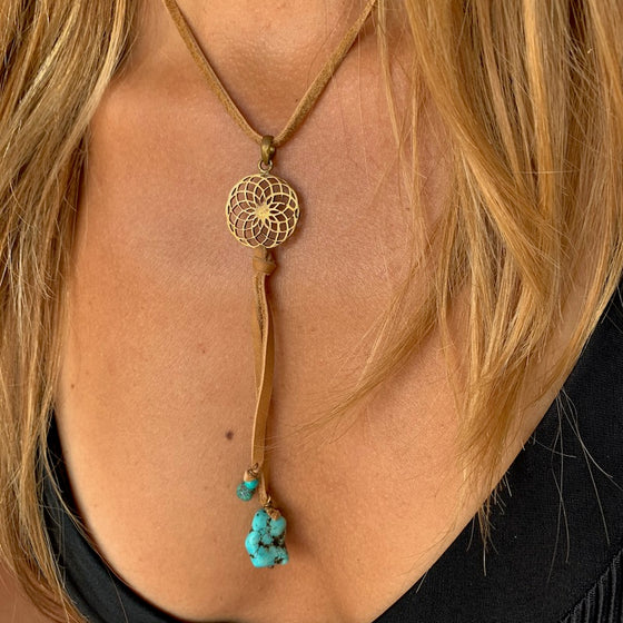 Brass Sunflower & Turquoise Boho Suede necklace