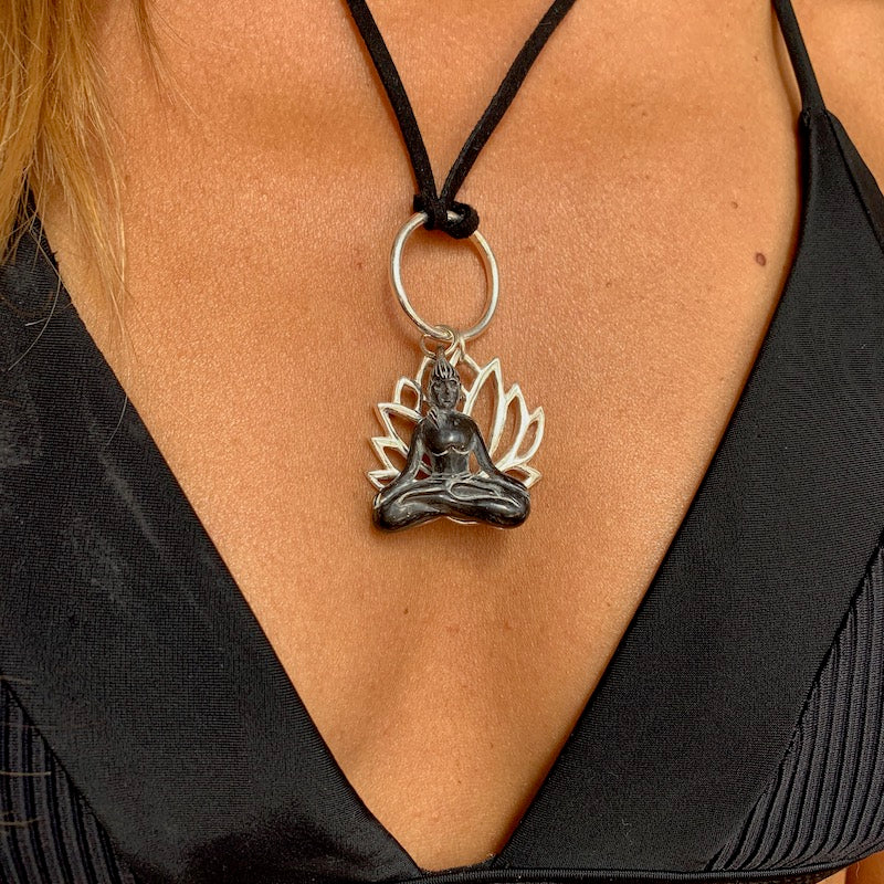 silver lotus & carved yogini pendant on leather Necklace