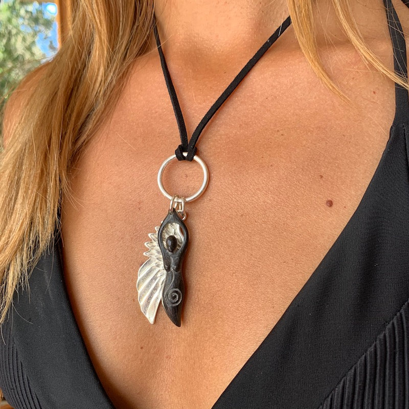 silver angel wing & carved goddess pendant on leather Necklace