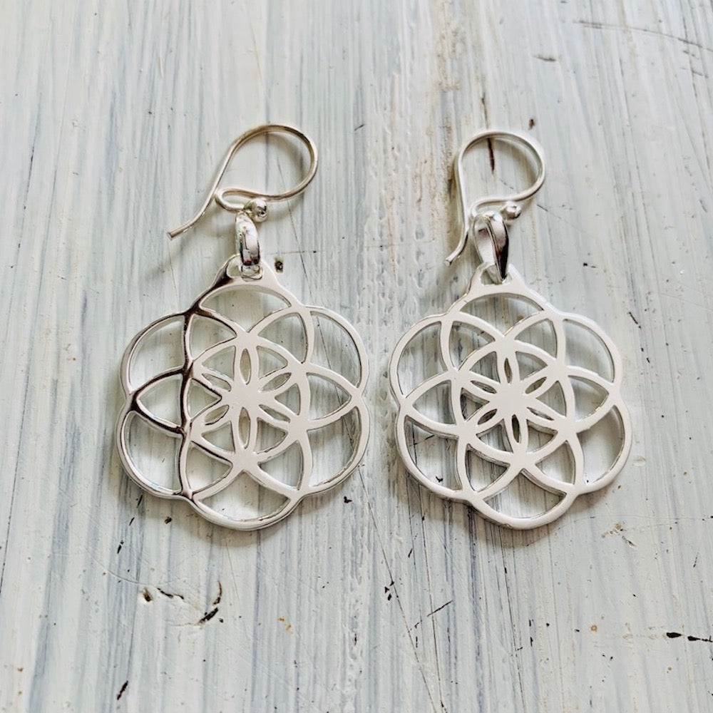 SEED OF LIFE Silver Earrings sacred geometry jewellery