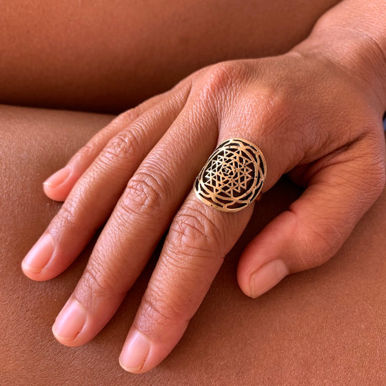 Brass Sri Yantra Mandala Ring sacred geometry jewellery