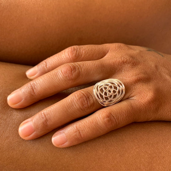 Silver Rose Of Venus Ring sacred geometry jewellery