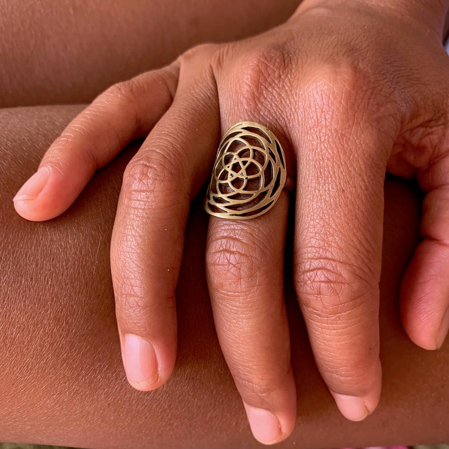Brass Rose Of Venus Ring sacred geometry jewellery