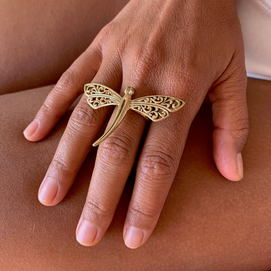 Brass Dragonfly Ring