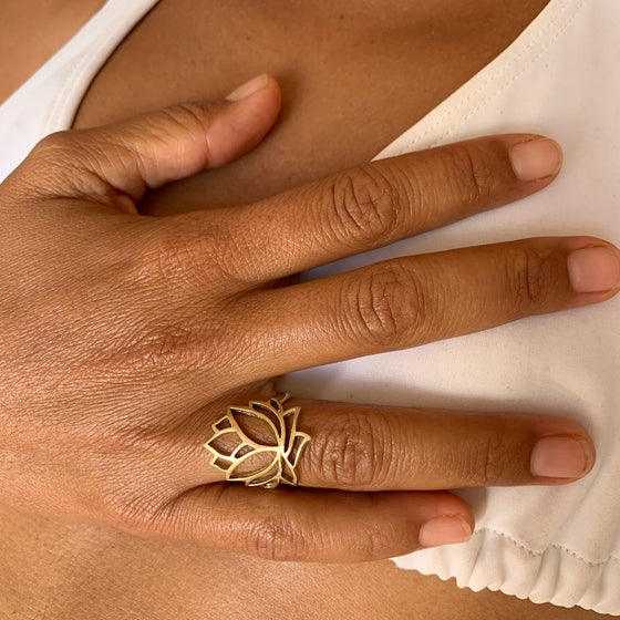 Brass Lotus Ring