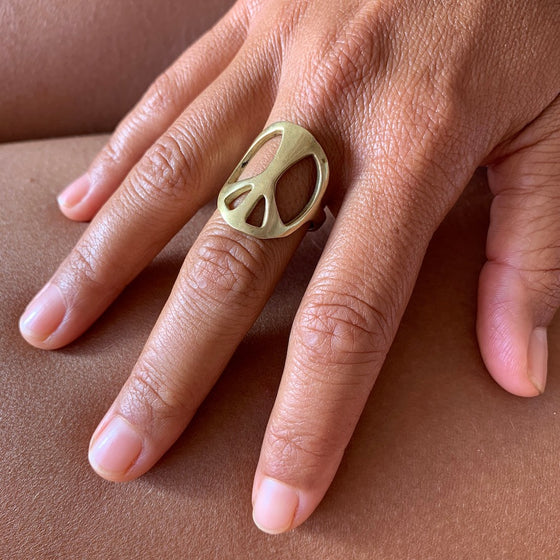Peace symbol brass ring