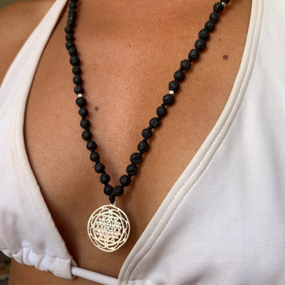 Lava Mala Prayer Beads yoga necklace silver Sri Yantra sacred geometry pendant