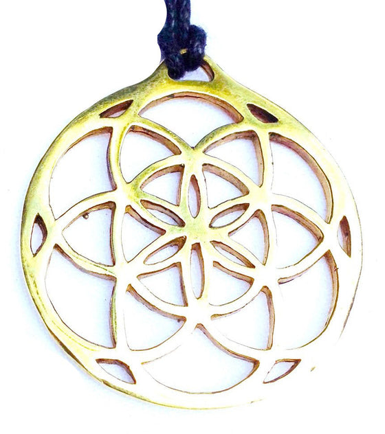 Seed of Life Large Brass Pendant - Heart Mala