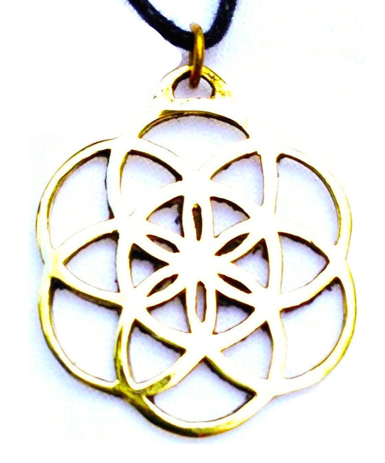 Seed of Life Brass Pendant - Heart Mala