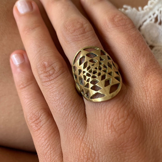 Brass Sri Yantra Sacred Geometry Ring