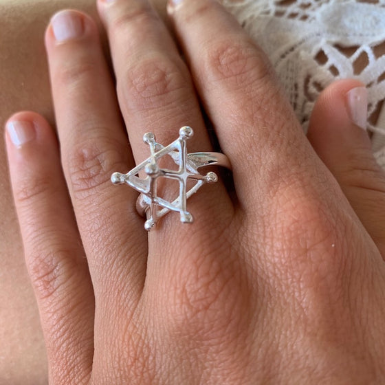 Silver Merkaba Sacred Geometry Ring