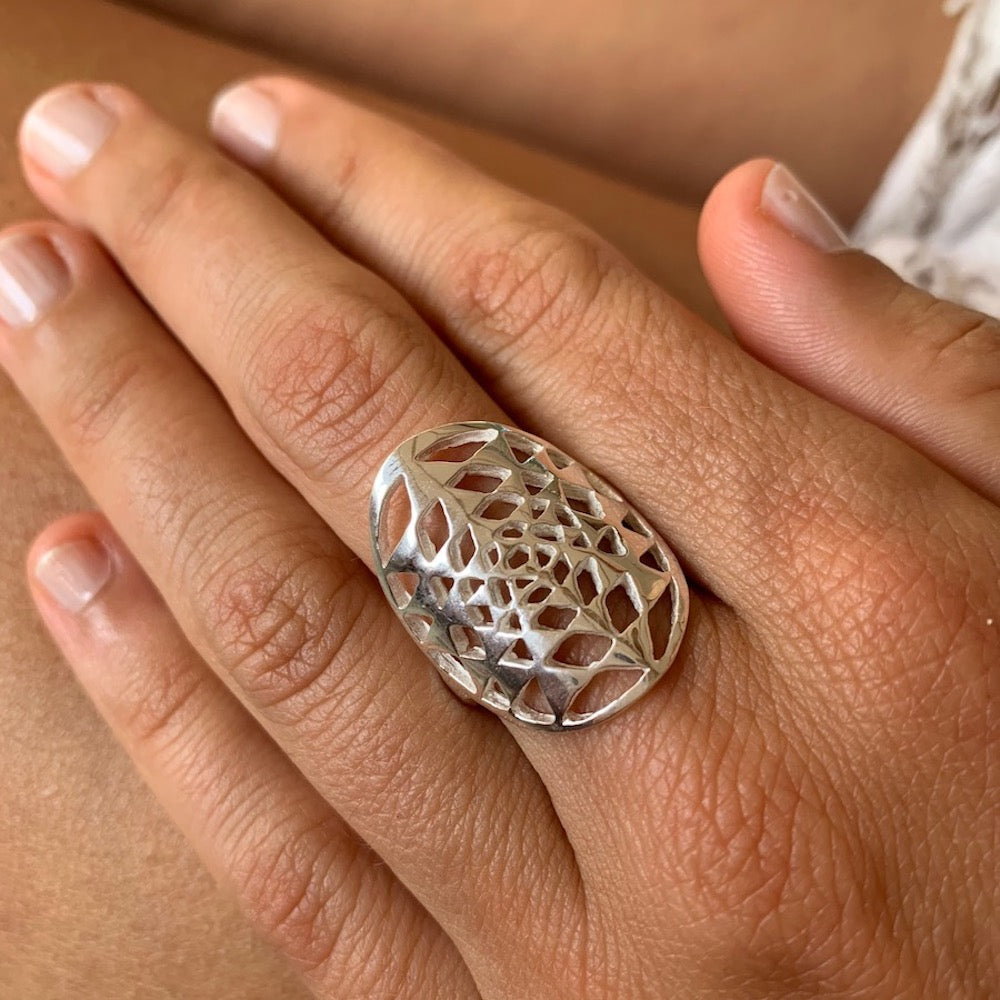 Silver Sri Yantra Sacred Geometry Ring