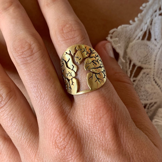 Brass Tree Of Life Ring
