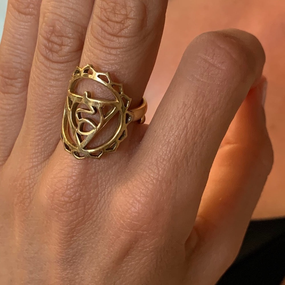 Throat Chakra Balancing Brass Yoga Ring