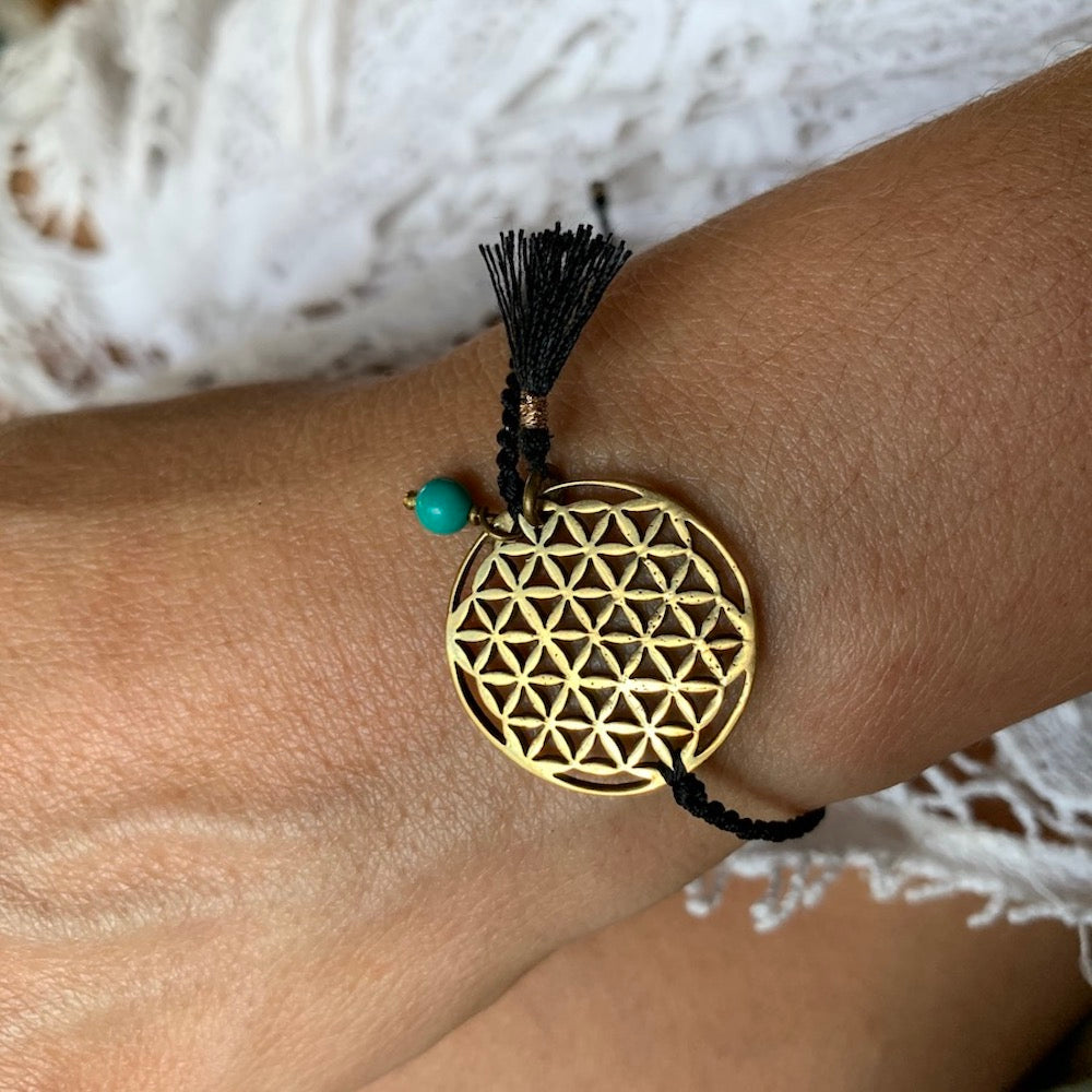 brass Flower Of Life sacred geometry charm bracelet with turquoise