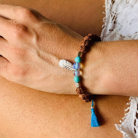 Feather wrist Mala Beads yoga bracelet, rudraksha, turquoise, moonstone