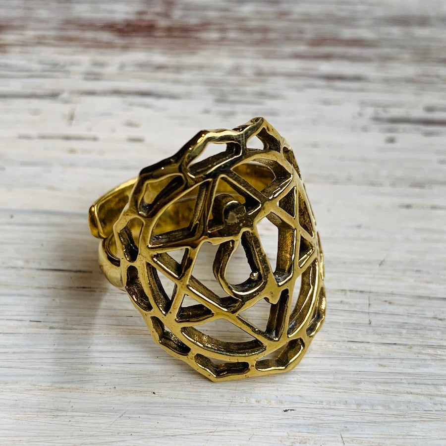 Heart Chakra Balancing Brass Yoga Ring