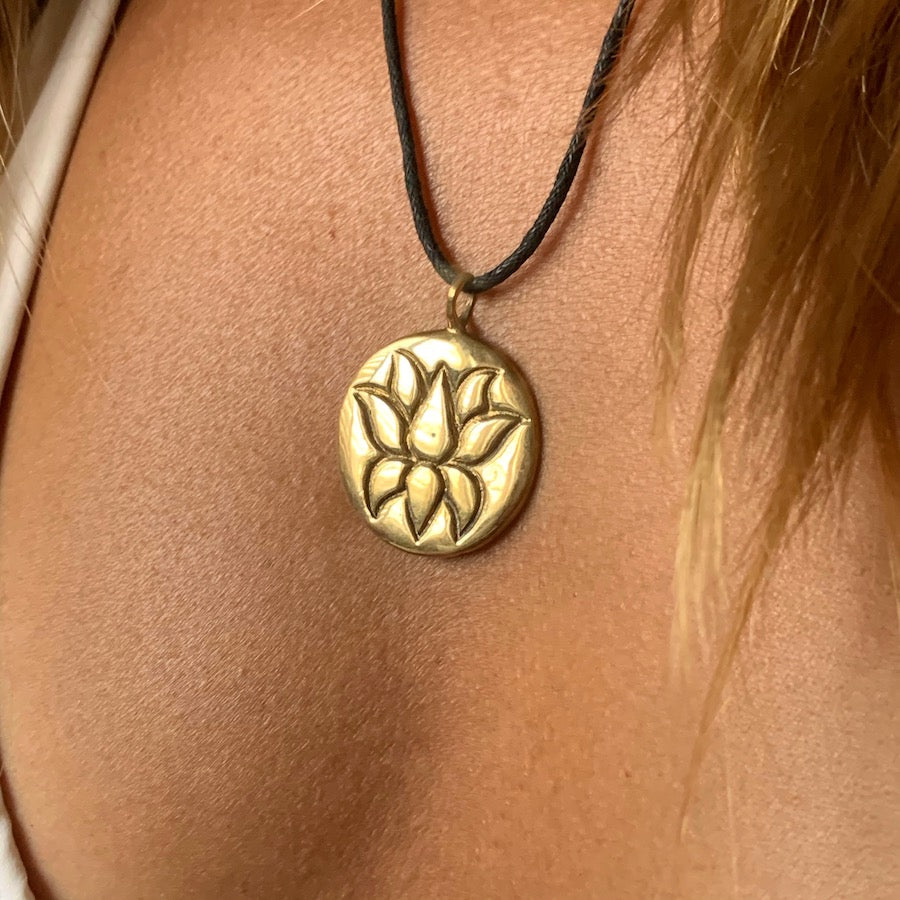 Lotus Round Brass Pendant necklace