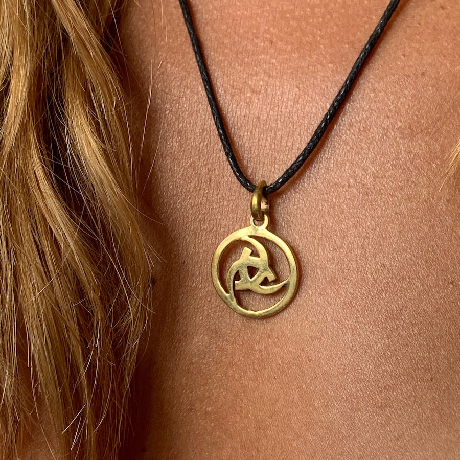 Odin's Horn Circle Brass Pendant necklace