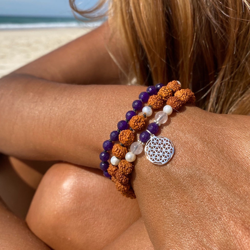 Flower of Life wrist Mala Beads yoga bracelet set: Rose Quartz, Amethyst, Pearl, Rudraksha