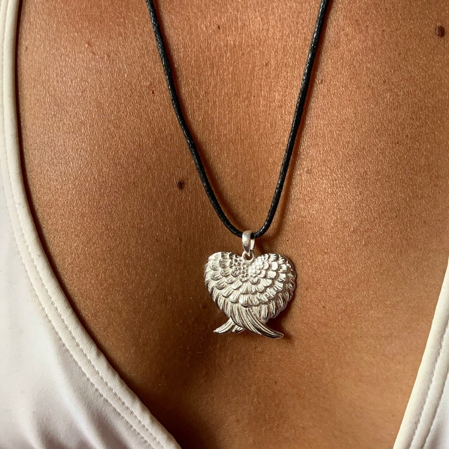 Angel Wing Heart Silver Pendant necklace
