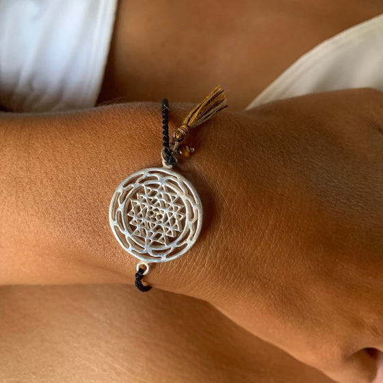 silver Sri Yantra charm yoga bracelet with tigers eye