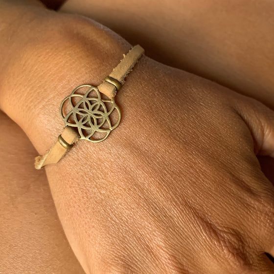brass Seed Of Life sacred geometry charm bracelet on suede leather
