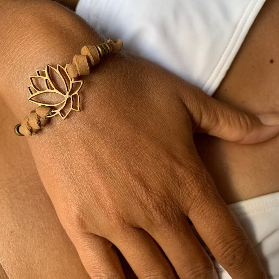 brass Lotus charm bracelet on suede leather