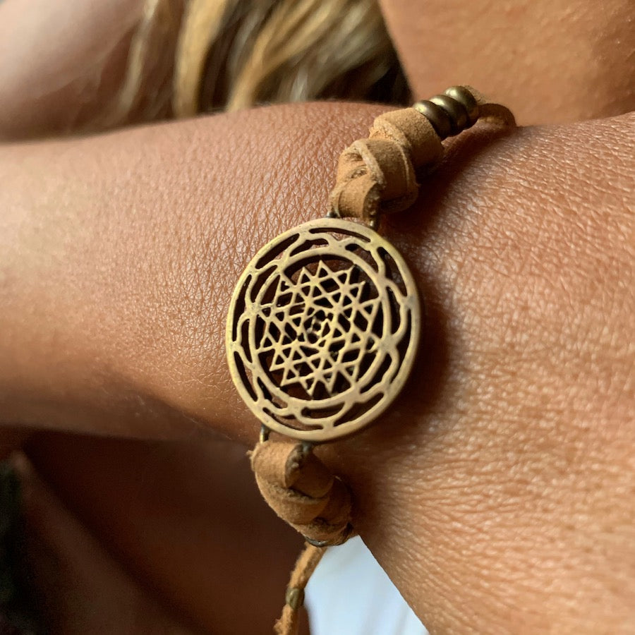 brass Sri Yantra sacred geometry charm bracelet on suede leather