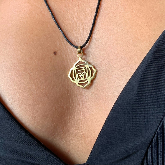 Root Chakra Symbol Yoga Necklace Brass Pendant